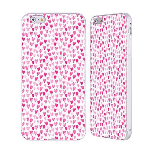 Ufficiale Charlotte Winter Fragola Pattern Assortiti Argento Cover Contorno con Bumper in Alluminio per Apple iPhone 5 / 5s / SE Cuori Acquarello