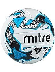 mitre Malmo Plus - Ballon Entraînement de Foot 18 Panneaux - Blanc/Noir/Cyan