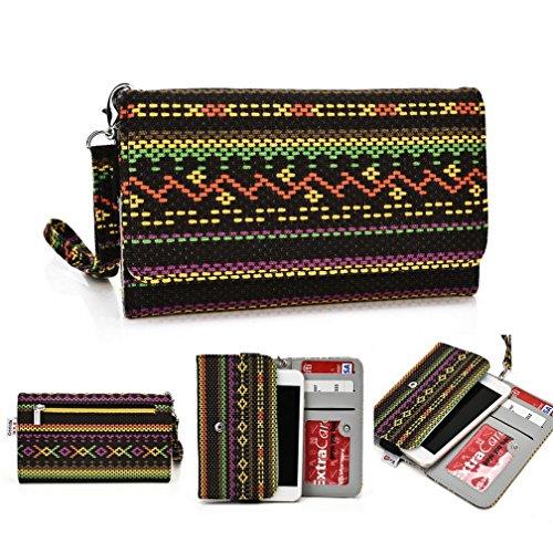 Kroo Téléphone portable Dragonne de transport étui avec porte-cartes pour Spice Stellar 520N (mi-520N) Multicolore - vert Multicolore - jaune
