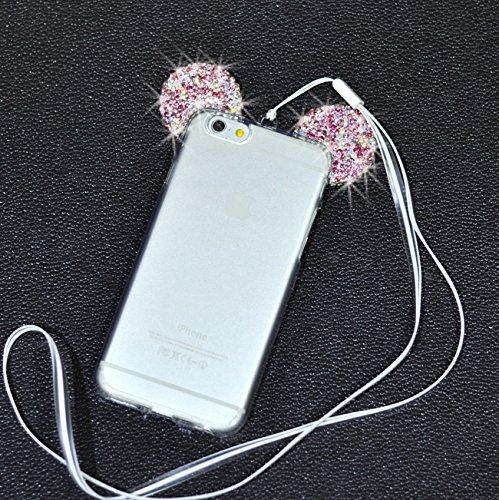 iPhone 7 Hülle(4.7 Zoll), Vandot Schutzhülle für iPhone 7 Case Cover mit Kratzfeste Stoßdämpfende Ohr TPU Silikon Bling Kristall Glitzer Handy Schutz Schale Tasche Bändselloch - Gradient Lila Rosa Ohr