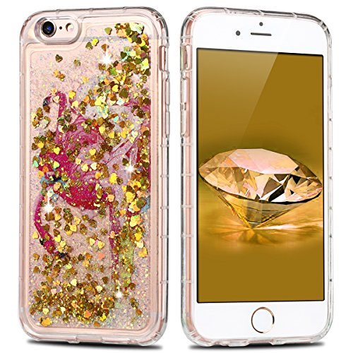 Coque iPhone 6 , E-Lush Apple iPhone 6 / 6S Liquide Sables Mouvants Etui D'Or Animal Quicksand Motif Coque cover Etui Cover Case Bling Bling Glitter Étoile Paillettes Etui Housse Souple Silicone TPU + D'Or