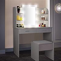 OUNUO Schminktisch mit Beleuchtung Hocker und Spiegel LED Frisiertisch Kosmetiktisch mit 10 LED-Glühbirnen, 3…