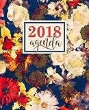 Agenda: 2018 Agenda settimanale italiano : 19x23cm : Motivo floreale astratto blu navy, avorio e rosso: Volume 6