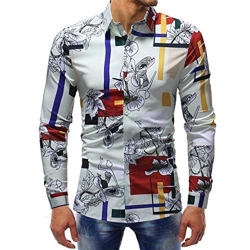(♫♫ Amlaiworld Bunt Muster Drucken Freizeit Hemd Outdoor Herren weich Oberteile Baumwoll Langarmshirts Lange Ärmel Gemütlich Blusen)