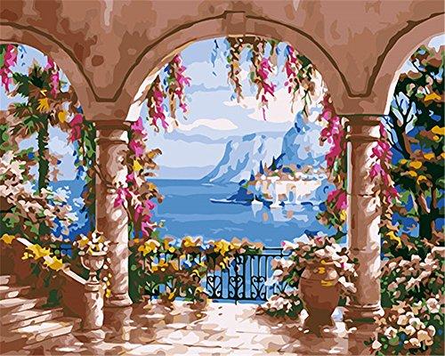 Meer Landschaften (CaptainCrafts New Malen Nach Zahlen 16x20 für Erwachsene, K0inder Leinwand - Schöne Landschaft am Meer, Garten (Frameless))