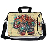 Kitron(TM)12.9-13.3 Inches Cute Colorful Retro Elephant Design Waterproof Neoprene Laptop Sleeve Case Bag Handbag Soft Carrying Handle & Removable Shoulder Strap for 12.5 to 13.3 inch Laptop Chromebook Ultrabook Macbook Pro A
