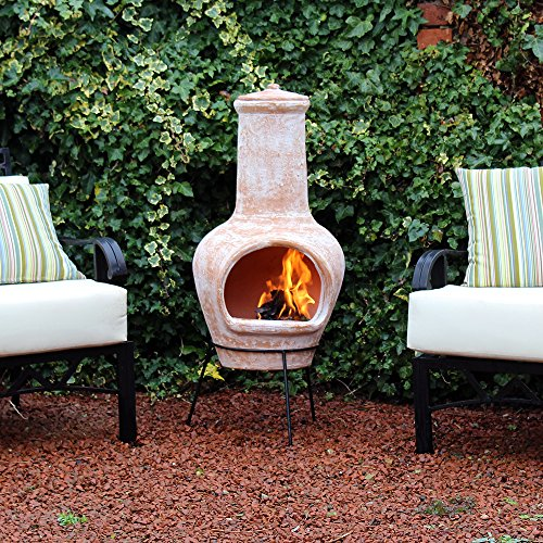 Kingfisher 105cm Large Terracotta Wood Burning Chiminea Outdoor Garden Furniture
