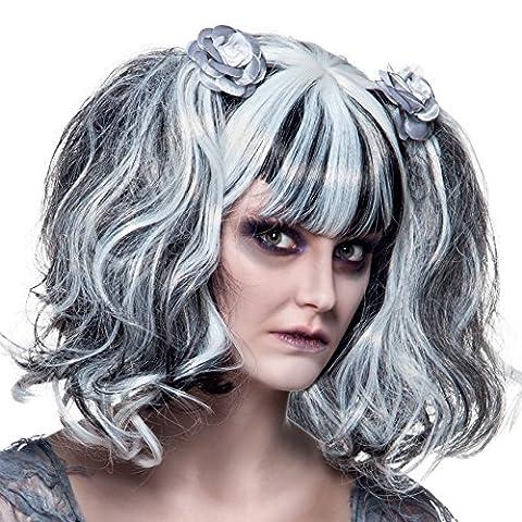 Perruque gothique blanche et noire femme