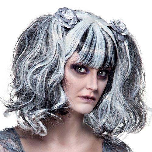ke Zombie mit Rose, Grau, Einheitsgröße (Girls Gothic Kostüme)
