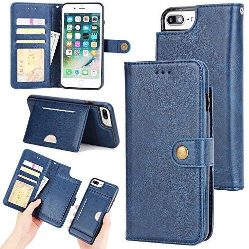 Preisvergleich Produktbild Hongfei iPhone 7 Plus 8 Plus Flip Hüllen 5,5 Zoll PU-Leder Brieftasche Telefonkasten Karten- / Bill-Slot Ständer Magnetschnalle Retro-Stil Blau