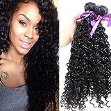 Tsnomore Negro Kinky rizado sintético de fibra 3Bundle Wefts extensión de pelo (Cabello humano)