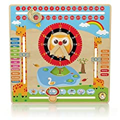 Idea Regalo - 'Clever Toy di legno calendario orologio Il mio primo calendario–Orologio di apprendimento bambini 30x 30cm by clevertoydepot