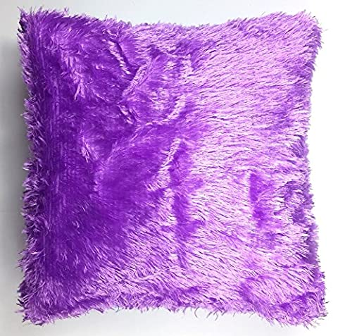 Décoration Couvre-lit en fourrure moelleuse Canapé en peluche douce Housse de coussin de luxe violet