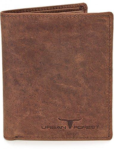 Besonders robustes Leder Portemonnaie Geldbörse Lederbörse Brieftasche Geldbeutel im Hochformat aus echtem Leder mit Veredelung in Farben Schwarz Braun Cognac von URBAN FOREST, Farbe:Braun