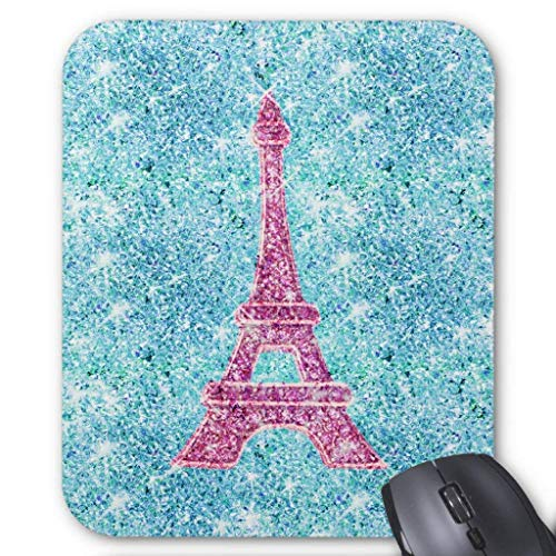 Anti-Friction Wristband Girly Pink Eiffel Tower Trendy Teal Glitter Photo Mouse Pad 18X22 ()