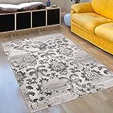 Designer Teppich Modern Wohnzimmer - Muster Meliert Ornamente in Weiß - Kurzflor Teppiche Neu - Prestige Kollektion 120 x 170 cm