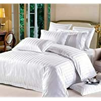 Amrange Glace Cotton 225TC Satin Stripes Double King Size White Stripes Bedsheet with Two Pillow Covers for Home-Hotels…