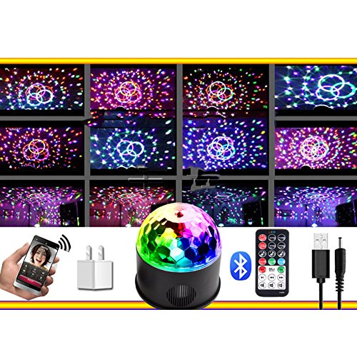 OOFAY LED Kristall Magic Ball Licht, Fern-Bluetooth-MP3-Musik, KTV Buntes 9 Farbdrehlicht