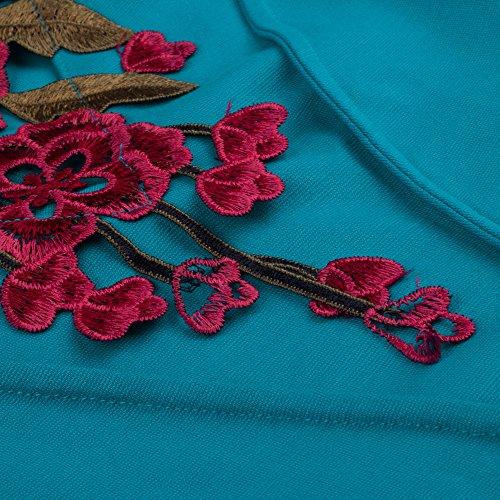 HOMEYEE Frauen elegante Stickerei Schlank Bodycon formale schwarze Retro Vintage-Kleid B330 Meeresblau