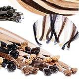 Bonding-Strähnen | Remy Virgin Echthaar | Haarverlängerung 60 cm Haarteile in naturblond