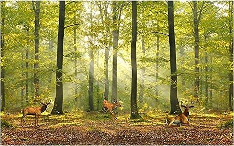 Lqwx 3D Raum Tapete Benutzerdefinierte Wandbild Non-Woven Wall Sticker 3D-Milu Rehe Wald Hintergrund Wandbild Fototapete Für Wände 3D-250Cmx175 Cm