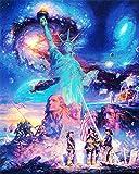 CaptainCrafts DIY 5D Diamant Malerei von Anzahl Kits Vollbohrer Diamant Malerei - Sternenhimmel Sky Freiheitsstatue Skulptur (20X25cm/8X10inch)