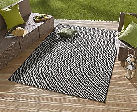 Tapis/Tapis Moderne Tapis Salon d'extérieur–pour balcon ou terrasse–Pour dans et Adventure Convient–Carreaux La Star de vos meubles de jardin–noir–env. 80x