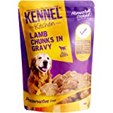 Kennel Kitchen Puppy and Adult Wet Dog Food Lamb Chunks in Gravy, 100g (Pack of 12)