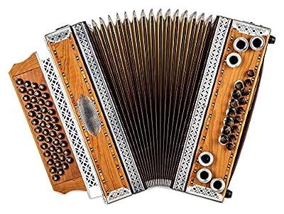 Alpenklang 4/III Harmonika Deluxe G-C-F-B Kirsch (Steirische Harmonika/Knopfakkordeon, Altsilber-Beschläge, Holz, mit Koffer und Riemen)