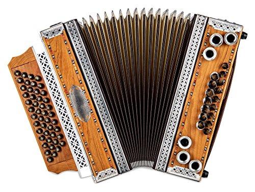 """Alpenklang 4/III Harmonika""""Deluxe"""" G-C-F-B Kirsch (Steirische Harmonika/Knopfakkordeon, Altsilber-Beschläge, Holz, mit Koffer und Riemen)"""