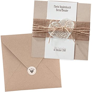 Vintage Einladungskarten Estelle Zur Hochzeit, Kraftpapier, Jute Band,  Spitze Herz