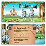 (10 x) Einladungskarten Kindergeburtstag Ritter Schloss Einschulung Einladungen
