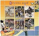 Francobolli Disney per collezionisti con un tema olimpico. Emesso da Benin per i Giochi Olimpici del 2008 a Pechino, i 6 francobolli dispongono di ciclismo e ogni mostra anche un personaggio Disney. Topolino e Pippo si vedono nei margini, insieme con il logo Games e Pechino 2008