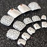 echiq 24Spiegel Silber Falsche Nägel für Fuß Kristall Strass Gems Acryl Fake Pre entworfen Zehen Nägel Tipps Sommer tragen Decor