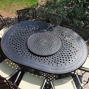 Ensemble meubles de jardin - Table ovale Gloria 210 x 150cm table et 8 chaises Maria