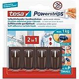 Tesa 58047-00002-00 Lot de 4 fixations pour rideaux Powerstrips avec 6 petits autocollants double-face (Marron) (Import Allem