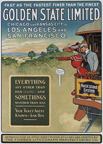 Vintage Travel Amerika mit Rock Island & Pacific Railroad Company für Chicago, Kansas City, Los Angeles und San Francisco, 250gsm, glänzend, A3, vervielfältigtes Poster -