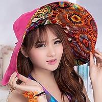 LBY Protección UV Mujer Playa Protector Solar Plegable Gran Sombrero De Playa Doble Cara Sombrilla Playa Sombreros de Sol