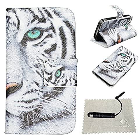 iPhone 4s Case Stand, iPhone 4s Wallet Case, iPhone 4 Flip Cover,TOCASO Patterned PU Leather Colorful Painting Stand Protective Case with Magnet Closure ID Card Holder Slot Pouch Anti Scratch Soft Cases Covers for Apple iPhone 4 (White