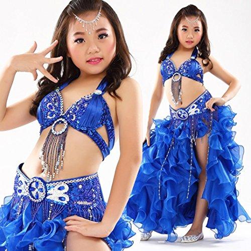 (HUOFEINIAO Kinder Bauchtanz Kostüm Bauchtanz Kostüm Mädchen Indien Tanz Rock Set Rot/Blau/Lila/Grün/Pink/Gelb,Blue,L)