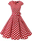 DRESSTELLS Vestito Donna 1950 Vintage Audrey Hepbun a Maniche Corte, Red White DOT XL