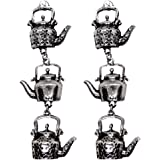 FURE Metal Oxidised Tea Kettles Antique Rhodium Stud Earrings for Women (Silver, 8cm Long)