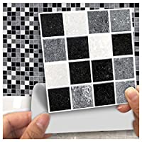 HyFanStr Mosaic Peel and Stick Tile Backsplash Wall Sticker Self-adhesive Kitchen 18 Pcs