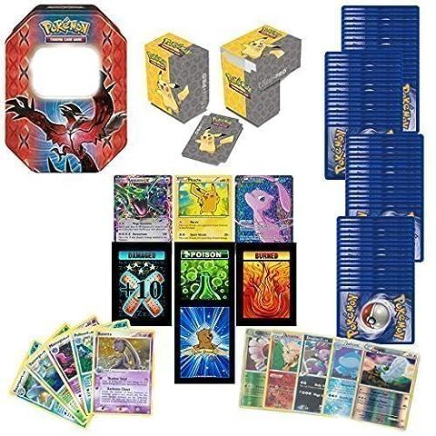 GoldenGroundhog 100 Assorted Pokemon Cards Bundle with 2 Ultra Rares, 20 Foils, Deck Box, Storage Box and 3 Custom Golden Groundhog Token Counters