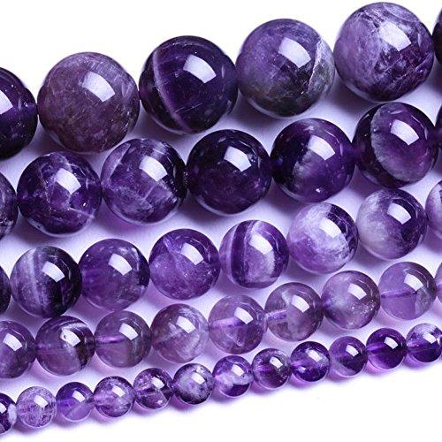 Perle rotonde sciolte, in pietra naturale, ametista e agata per fare gioielli, da 2,3,4,6,8,10,12,14,16mm, 8 mm