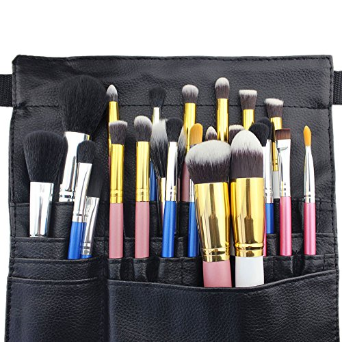 Hotrose 22 Pockets Professional Cosmetic Makeup Brush Bag with Artist Belt Strap for Women