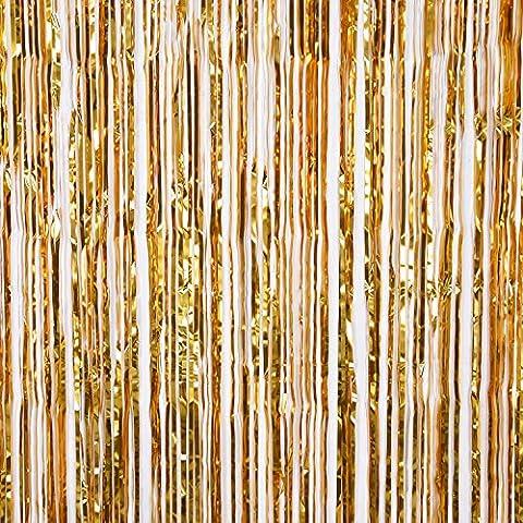 Outus Ligne Rideaux Metallic Foil Fringe Rideaux Fête Accessoire, d'Or