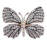 Belons Elegant Winged Butterfly Crystal Rhinestone Brooch Collar Pin Wedding Banquet Bouquet for Women&Girls, Black/White