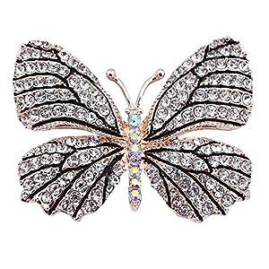 Belons Elegant Damen Mädchen Schmetterling Brosche Anstecknadel Legierung Strass Schmuckbrosche Sicherheitsnadel Pin, Schwarz/Weiß