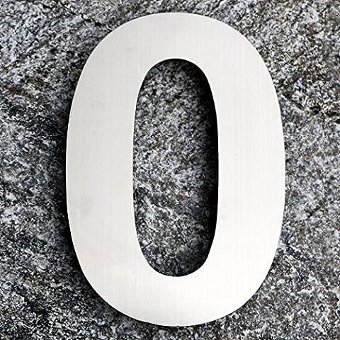 Qt moderno Extra Large–Numero civico 10Inch–Acciaio spazzolato (numero 0ZERO), taglia XL, galleggiante aspetto, facile da (Kit Targa Hardware)